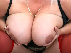 Big girl with huge boobs playing