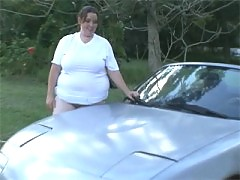 Horny big sophie playing on her car