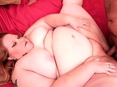 Blonde BBW offering her huge tits for a sucking